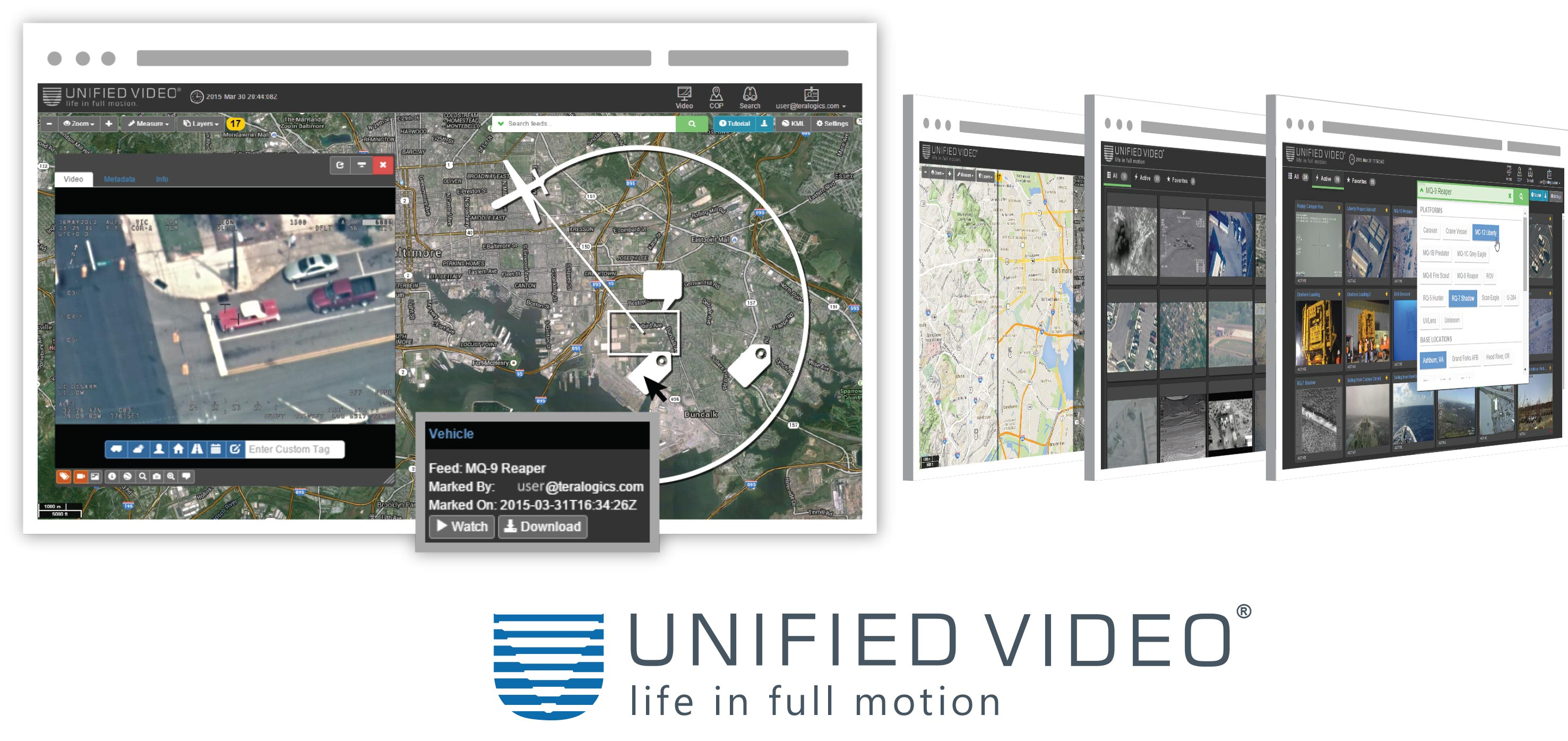browser images of Unified Video streaming management framework in use